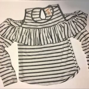 White with Gray Stripes Cold Shoulder Ruffled Top